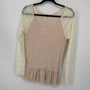 New free people ivory comb dusty rose sheer blouse